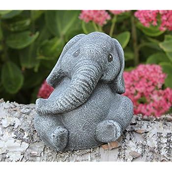 Steinfigur Elefant klein Schiefergrau, Deko Figur