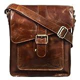 STILORD \Lukas\ Bolso Mensajero pequeño Hombre Cuero Bolsa Bandolera para Tablet de 10,1\ o iPad Bolso Trabajo Bolso Oficina auténtica Piel, Color:marrón - Antico