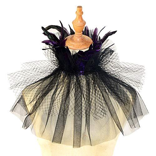 Homelex Gothic Schwarz Natürlich Wedding Feder Netz Cape Choker Kragen ()