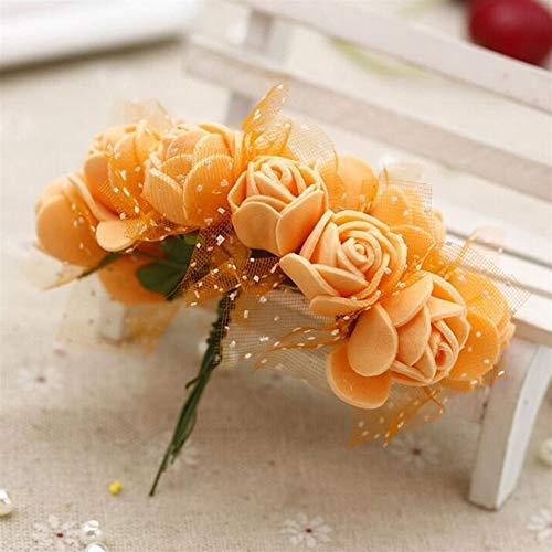Luosanhe 144 stücke Künstliche Mini Schaum Blumen Rose Tüll Rot DIY Geschenkbox Handwerk Papier Scrapbooking Blumen Dekoration Gefälschten Blumenstrauß Kranz (Color : Orange)