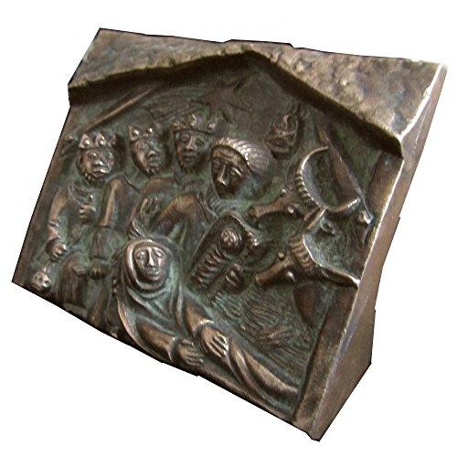 escultura estatua figura los Reyes Magos Navidad 10,5 cm * 8,5 cm bronce noble patina verde