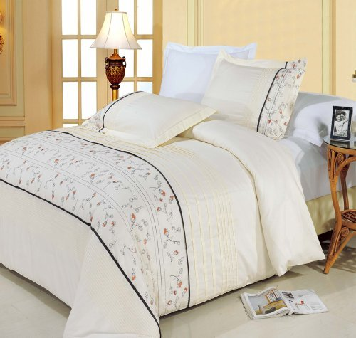 Anna bestickt 8pc Queen Size Bed in a Bag Tröster Set 100% Baumwolle 300 TC, inklusive 4 Bettlaken-Set + 3-teiliges Bettbezug Set +, die Alternative Tröster von Royal Hotel Betten (Ägyptische Baumwolle Standard Pillow Sham)