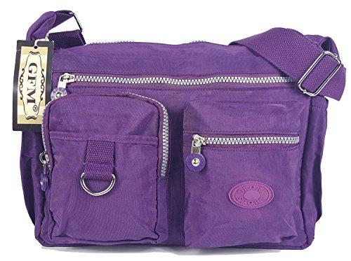 GFM borsa a tracolla multitasca con cerniera, in nylon leggero Style 3 - Purple (47-GHJMN)
