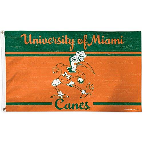 Wincraft Universität von Miami Throwback Vintage 3x 5College Flagge - Miami Hurricanes 3x5 Flag