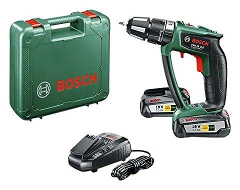 Bosch 18V Akku Schlagbohrschrauber PSB 18 LI-2 Ergonomic mit 2 Akku, Ladegerät, Schrauberbit, Koffer (18 Volt System, 2,5 Ah)