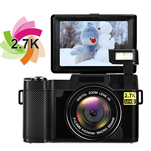 Caméra Appareil Photo Appareil Photo Numérique Full HD 1080P Mini Caméra 24.0 Mégapixels Zoom Numérique Rétractable Appareil Photo Compact Écran de 3 Pouces