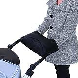 Kuscheliger Handmuff/Handwärmer/Kinderwagenmuff mit Thermo-Fleece, für Kinderwagen, Sportwagen oder Buggy, wasser- und windabweisend, atmungsaktiv - Schwarz Grau