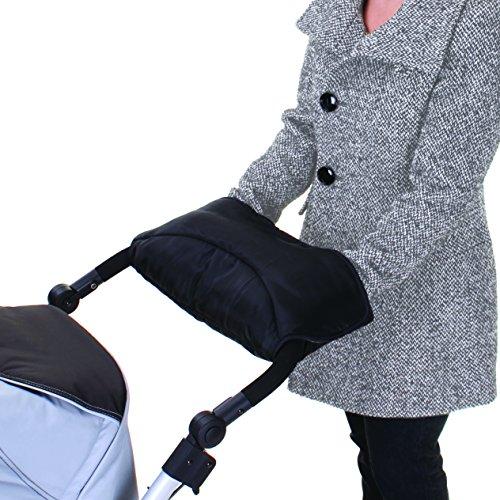 Kuscheliger Handmuff / Handwärmer / Kinderwagenmuff mit Thermo-Fleece, für Kinderwagen, Sportwagen oder Buggy, wasser- und windabweisend, atmungsaktiv – Schwarz Grau