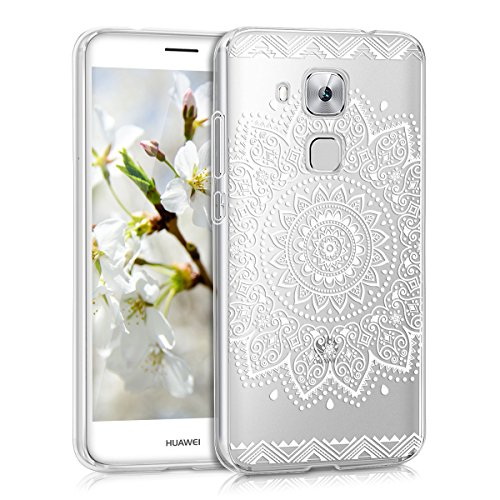 kwmobile Crystal Case Hülle für > Huawei Nova Plus < aus TPU Silikon mit Blume Design - Schutzhülle Cover klar in Weiß Transparent