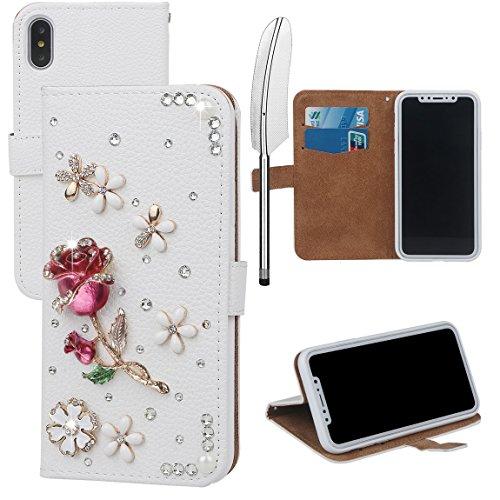 xhorizon MLK Boutique à la main Bling Glitter Housse de portefeuille Elégante et Rose Boîtier de protection en plein corps pour iPhone X / iPhone 10 (2017) avec un stylet DIY60 Rose Rouge