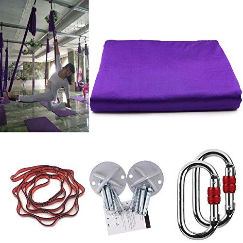 Kikigoal, amaca da yoga, amaca oscillante con carico di 500kg. misure: 500× 280cm. yoga in volo, antigravità. cinghia da yoga, cinghie di seta per yoga in volo, viola intenso