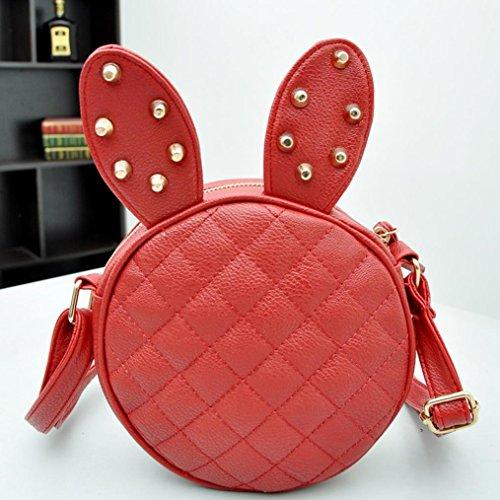 Vovotrade® Ragazza delle donne dell'orecchio di coniglio di cuoio rotondo della borsa del messaggero (viola) rosso