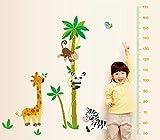 ufengke® Comic-Tiere Niedlichen Affen Panda Zebra Giraffe Messlatten Wandsticker, Kinderzimmer Babyzimmer Entfernbare Wandtattoos Wandbilder