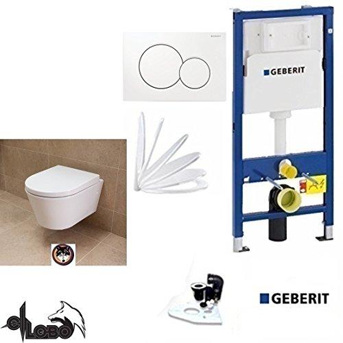Geberit Duofix UP 320 Vorwandelement, City Design AL:48 cm Tiefspül WC Komplettset + Deckel Absenkautomatik, Schallschutz, Sigma 01 weiss