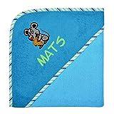 Wolimbo Kapuzenbadetuch mit Ihrem Wunsch-Namen und Wunsch-Motiv - Format: 100x100cm - Farbe: blau Rand gestreift - Das individuelle und kuschelig weiche Badehandtuch für Mädchen und Jungs