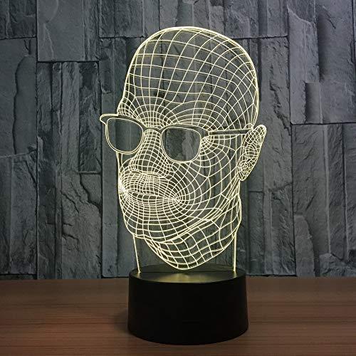 Neuheit 7 Farbe Verfärbung Acryl Sonnenbrille Körperform 3D Nachtlicht Led Tischlampe Usb Innendekoration Schlaf Beleuchtung Geschenke