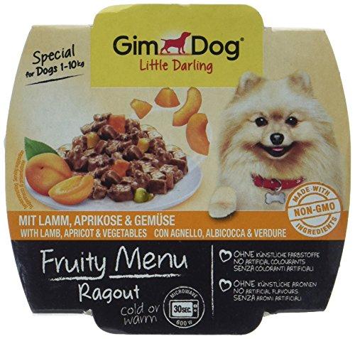 GimDog Futter – Little Darling Fruity Menu Ragout mit Lamm, Aprikose und Gemüse – Für Hunde bis 10 kg – Natürliches Hundefutter ohne künstliche Aromen & Farbstoffe – Hundenassfutter 800g (8 x 100g)