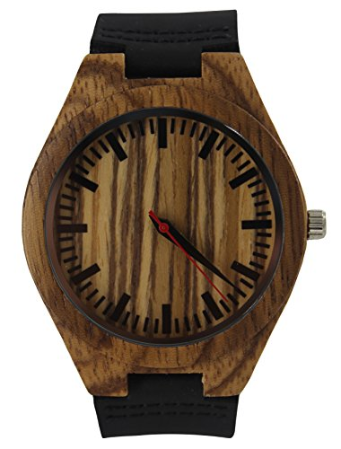 GREENTREEN Holzuhr Herren Uhren aus Holz für Männer Armbanduhr mit Echtes Leder Gurt Japanische Quarzwerk (Schwarz) Damen-uhren Mit Dunklem Gesicht