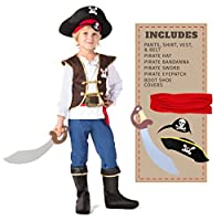 Spooktacular Creations Boys Pirate Costume for Kids Deluxe Costume Set (M 8-10)