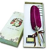Retro Gans Federkiel, Soriace® Elegant Kalligraphie-Stifte Geschenkset mit Feder Stift / Tinte Flasche / 5er Metall Schreibfeder (Wein)