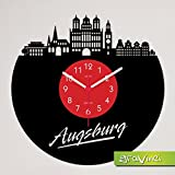Gravinci.de Schallplatten-Wanduhr Augsburg Skyline