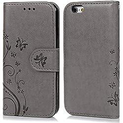 Coque iPhone 6 6S Etui Flip Cover Clapet 2 en 1 Coque Protecteur en Cuir PU avec TPU Silicone Housse avec Portable Dragonne Stand Support et Carte de Crédit Slot Pour iPhone 6 6S 4.7 Pouces -- Gris