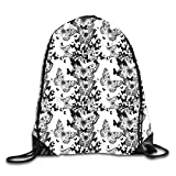 TKMSH Drawstring Backpacks Bags Daypacks Sport Bag,Starry Night Drifter Butterfly Silhouettes Monochrome Sketch Style Fauna,5 Liter Capacity Adjustable for Sport Gym Traveling