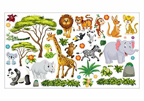 dschungel wandtattoo nikima - 060 Wandtattoo Wanddekoration Dschungel Tiere Löwe Elefant Koala Panda Giraffe Zebra - in 6 Größen - Kinderzimmer Sticker Wandaufkleber niedliche Wandsticker Wanddeko Wandbild Junge Mädchen (750 x 420 mm)