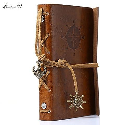 Journal en cuir ordinateur portable, vintage Pirate Ancre de voyage Agenda nautique Style vintage PU Housse Carnet de notes marron