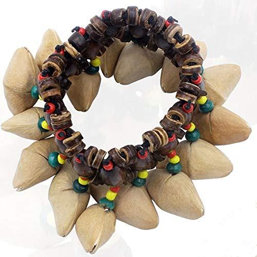 Gaodaweian Bundles für Frauen Afrikanische Trommeln Hand Schmuck - einzigartige afrikanische Nussschalen knistern Armband elastische Perlen Kette Hand Dekor Armbänder Silber (Conga-kit)