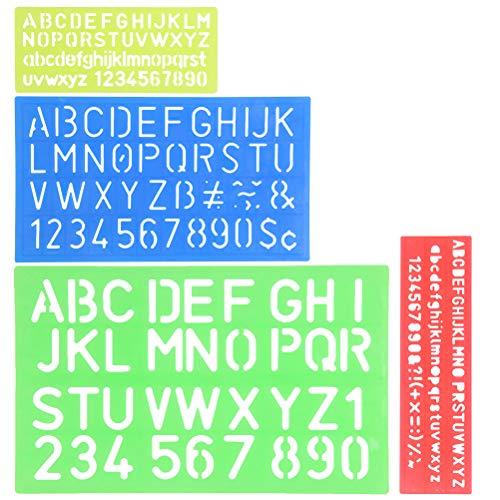 YOTINO Stencil Lettere 4 Pezzi Normografo Stencil di Alfabeto per Scrivere Disegno e DIY per Bambini e Studenti, Regalo