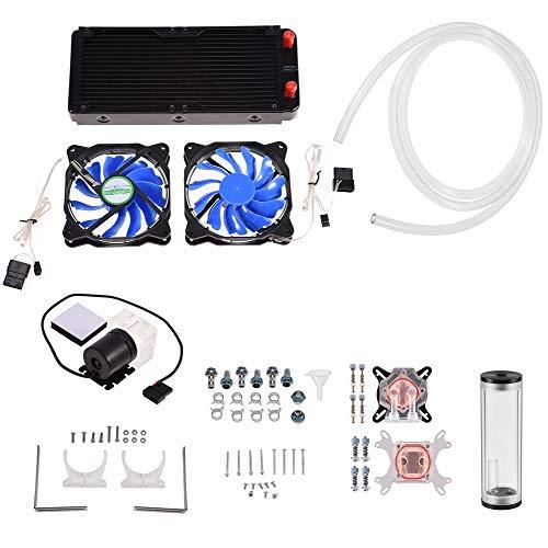 Garsent Kit de Refroidissement, 240mm Kit Watercooling Refroidisseur CPU/GPU Bloc Pompe Réservoir LED Dissipateur de Chaleur Système de Refroidissement pour AMD/Intel / NV