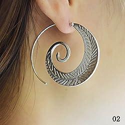 niceyo Retro Vintage Boho Bohemian redonda espiral círculos hojas Stud Pendientes, Plateado