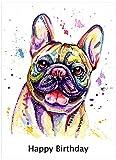 Französische Bulldogge Geburtstagskarte, Geburtstag Geschenk–Personalisierter Text.
