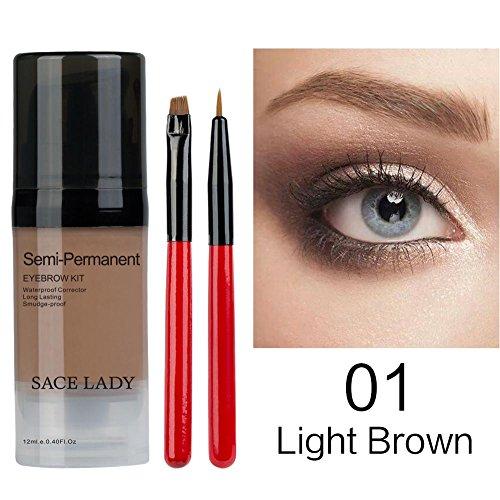 Eye Brow Gel Langlebige Augenbrauen Gel Tri-Farbe Liquid Brow Tattoo Creme wasserdicht langlebige, nicht verblassende natürliche Augenbrauen Gel mit Augenbrauen Bürste (12ML)