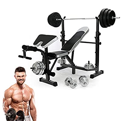 Adjustable Folding Bench, Hehilark Fitness All-in-One Dumbbell/Barbell Weight Bench (Maximum load 110kg) by Hehilark