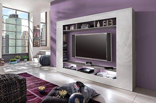 trendteam SD89535 Wohnwand TV Möbel weiss Hochglanz, Beton Industry Nachbildung, BxHxT 216x160x30 cm - 4