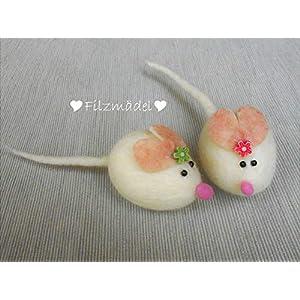 Maus Filz weiß supersüß mit Schmunzelgarantie, gefilzt
