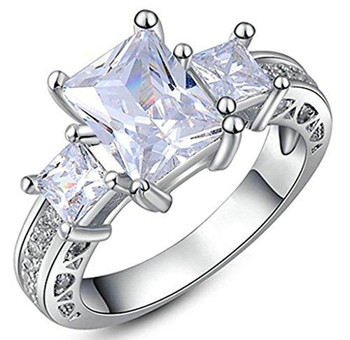 Gnzoe Gioielli, Placcato argento Austriaco Cristallo Diamante Fidanzamento Anello di Nozze Banda Per Donna