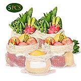KASTEWILL 5er Set Obst- und Gemüsebeutel Baumwolle Wiederverwendbare, Plastikfreie Einkaufstaschen mit Gewichtsangabe und Etikettenaufkleber, Größe S x 1, M x 2, L x 2