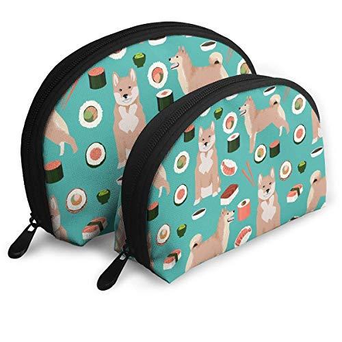 Shiba Inu and Sushi Novelty Dogs Portable Reise-Kosmetiktaschen Organizer Set of 2 for Women Teens Girls (Make Up Kits Für Teens)