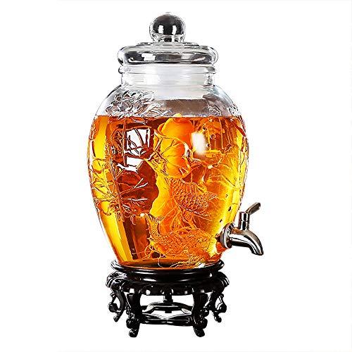 KTYXDE Weinglas Dispenser Saft Bier Kaffee Getränk Familie Bar Party Trinkbrunnen 10L / 15L Kapazität Getränkespender (Color : 15L-Stainless Steel-Resin Base) -