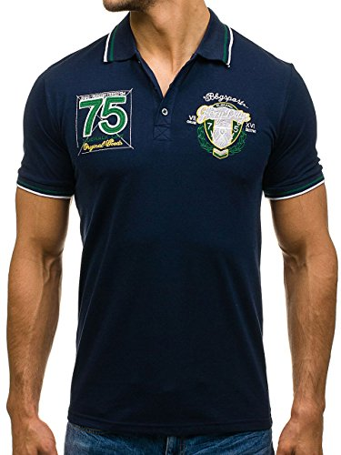 BOLF Herren Poloshirt T-Shirt Polo Tee Hemd Kurzarm Slim Classic Party 3C3 Motiv Dunkelblau