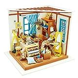 DIY Haus Bausatz Basteln Miniatur Puppenhaus Dekoration Kreative Geschenkidee mit LED Licht (Schneiderei)