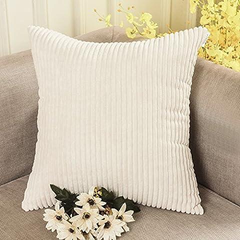 Home brillant solide décoratifs Toss Taie d'oreiller rayé en velours côtelé Housse de coussin, Tissu, Cream Cheese, 45,7 x 45,7cm