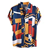 Lazzboy Uomo Camicia Top Multicolor Stripes/Color Block Plus Size Graffiti Manica Corta Bottoni Larghi Largo Bluse(3XL,Blu-Geometric 2)