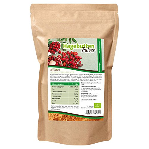 Mynatura Hagebuttenpulver - Naturrein - Glutenfrei - Zertifizierte Bio Qualität (DE-ÖKO-044) - Rohkostqualität - Vegan - gemahlt (1000g) ((1x1000g)) -
