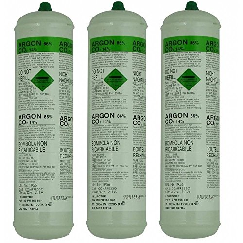 Price comparison product image 3 X Argon CO2 Disposable Welder Gas Bottle 60 L Litre For Gas Gasless Mig