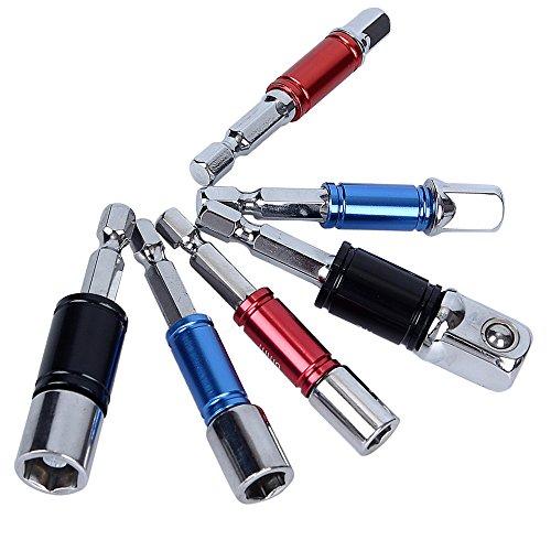 Socket Adapter Set, Hakkin 1/10,2cm 3/20,3cm 1/5,1cm Hex Quadratisch Mutter Treiber Bohrmaschine Impact Socket-Erweiterung Bit Adapter Set (Bohrmaschine-erweiterung)