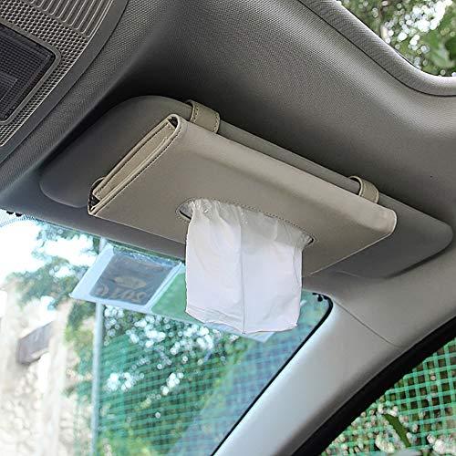 Kuizhiren1 Papiertaschentuchbox, Aufbewahrungsbehälter, 23 x 13 cm, Kunstleder Auto Sonnenblende, Taschentuchbox, Papiertuch-Serviettenhalter, beige, Beige -